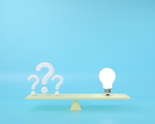 The question mark is on a balance board with lightbulb floating on a blue .