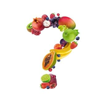 Вопросительный знак из разных фруктов и ягод