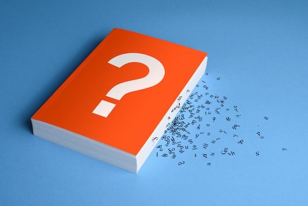 Вопросительный знак на книге с буквами