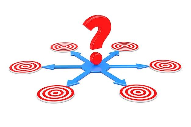 Вопросительный знак над синими стрелками как разные способы достижения целей на белом фоне. 3d-рендеринг.