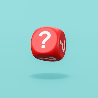 Question mark red dice on blue background
