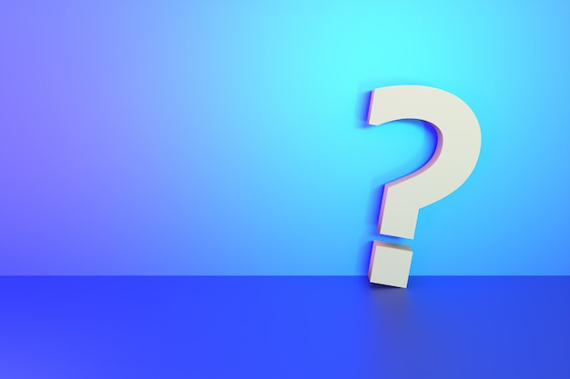 Question mark sign on blank vibrant light wall background for design