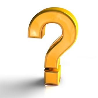 Знак вопроса знак символ золотой цвет 3d визуализации, изолированных на белом фоне