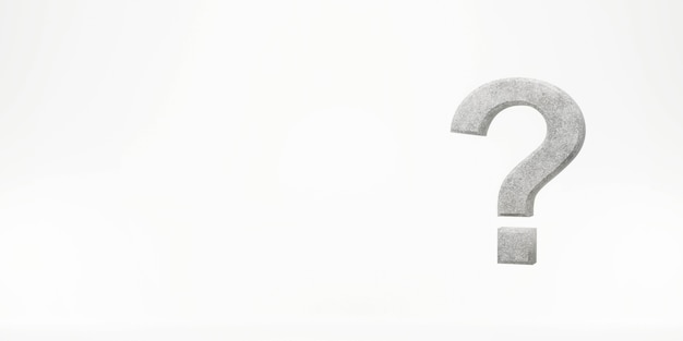 Question mark on a white background 3d rendering