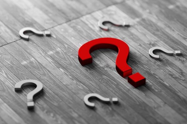 木製の背景に疑問符。木製の背景に真っ赤な疑問符。 3dレンダリング。