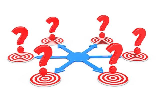 Вопросительные знаки над синими стрелками как разные способы достижения целей на белом фоне. 3d-рендеринг.