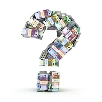 Знак вопроса из пакетов евро, изолированных на белом. куда вложить деньги концепции. 3d