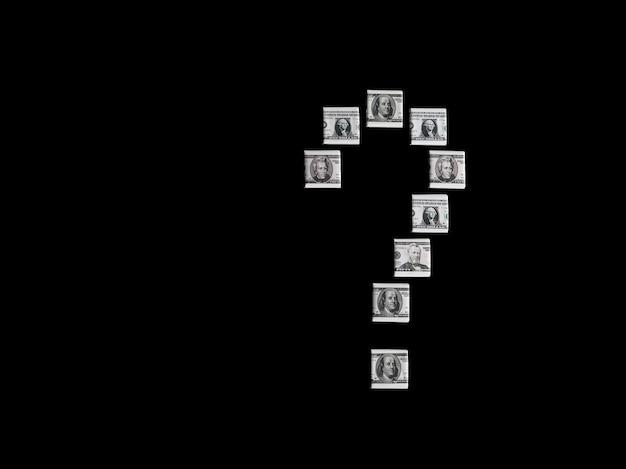 Знак вопроса из портретов долларовых банкнот