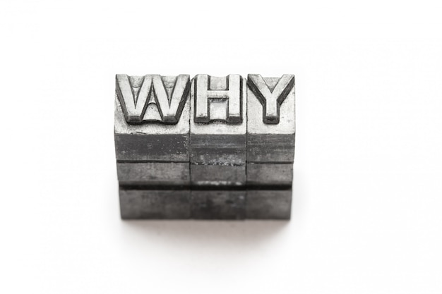 Question word, who, what, when, where, why, letterpress,