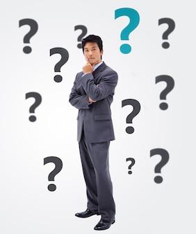 Questioning businessman