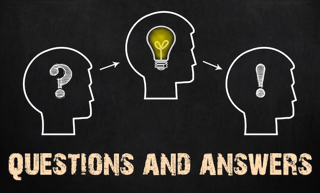Questions and answers - group of three people with question mark, cogwheels and light bulb on chalkboard background.