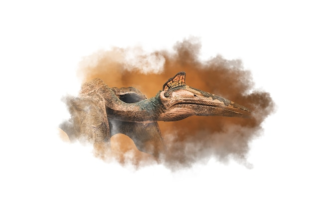 ケツァルコアトルス、煙の背景に恐竜