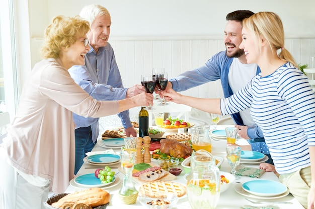 Quiet family celebration at home