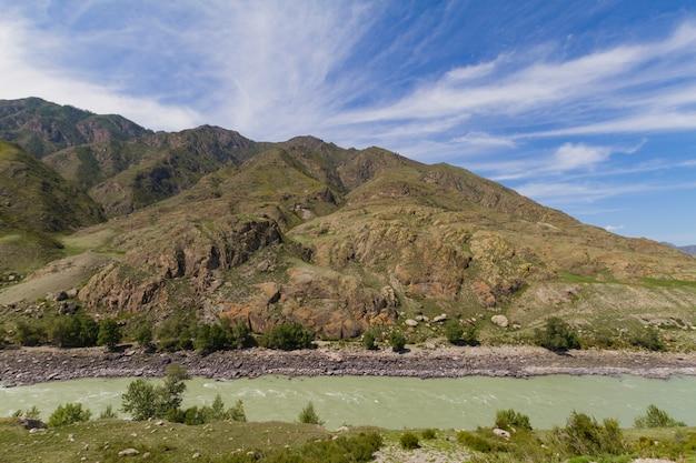 Quiet watercourse katun river.