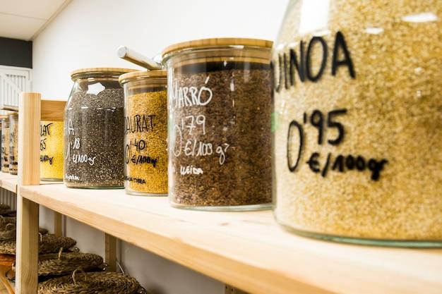 Quinoa, chia, golden linen and brown linen.