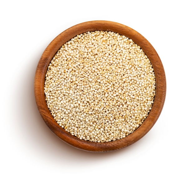 Quinoa seeds isolated on white background, top view