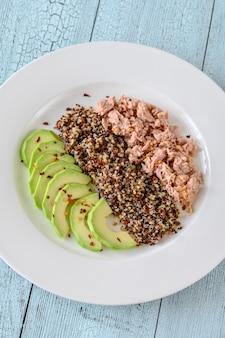 Quinoa with avocado and tuna