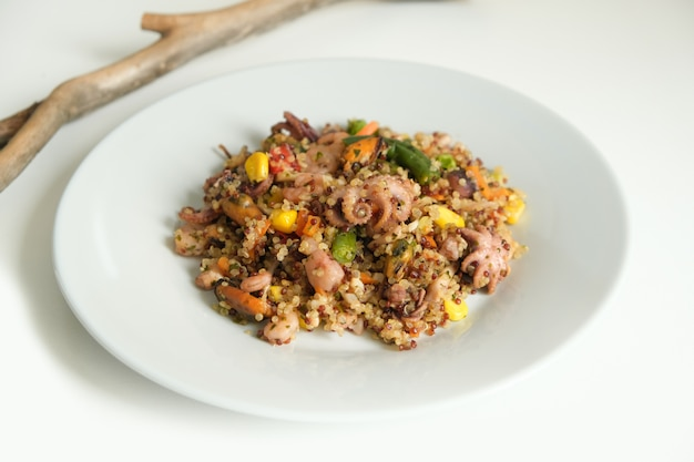 Quinoa with seafood and vegetables. super food. proper nutrition