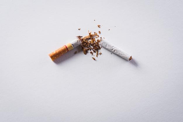 Quitting smoking made with broken cigarettes.