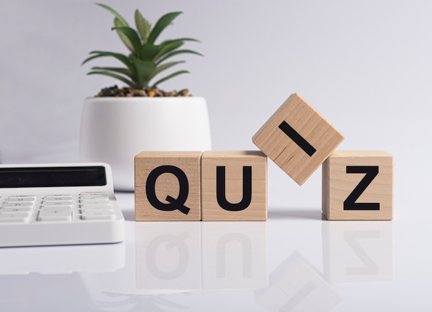 Quiz word, inscription. question game and quest concept.