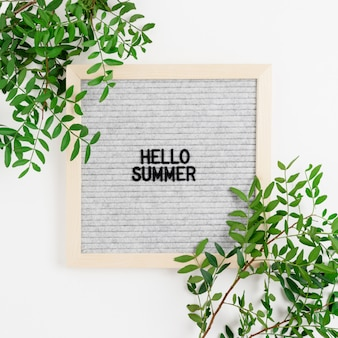 Quote - hello summer. border frame made of pistachios branches on a white background