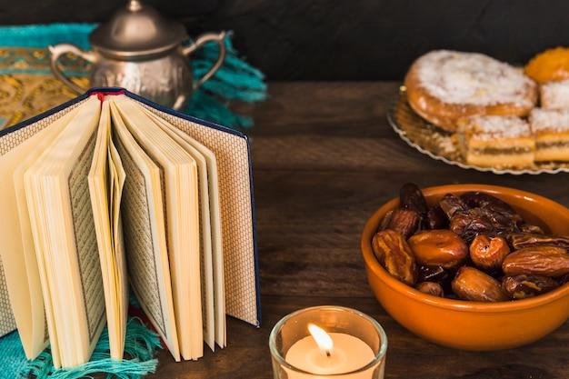 Corano con pagine lancianti vicino a candele e cibo