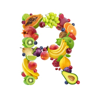 さまざまな果物や果実で作られたrの文字