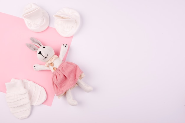 Rabbit plush toy and mittens