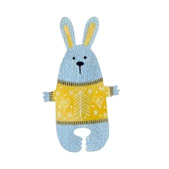 Акварельные иллюстрации кролика, изолированные на белом фоне