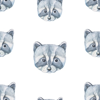 Raccoon animals cute muzzle face cartoon watercolor hand drawn illustration. print baby picture decoration background poster patern seamless