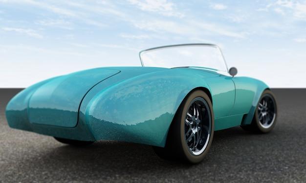 Гоночный автомобиль крупным планом, вид спереди на трассе, ведущей в 3d визуализацию