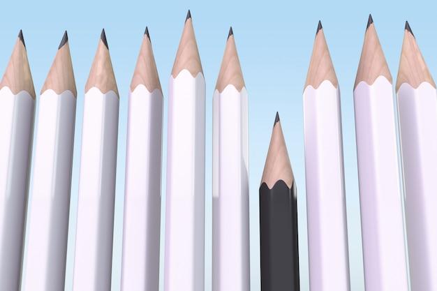人種差別の概念。白鉛筆が黒鉛筆を支配する