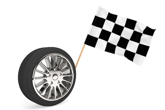 Racing concept. wheel with racing flag on a white background