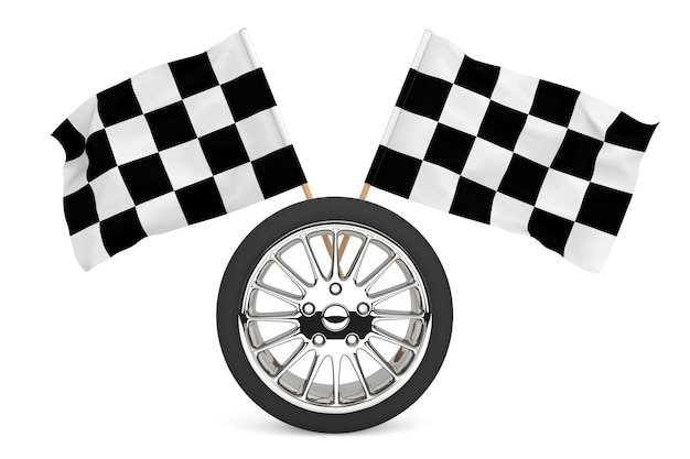 Racing concept. wheel with racing flags on a white background