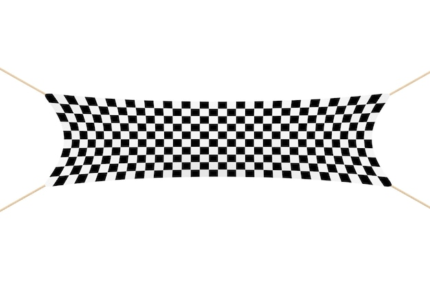 白い背景の上のロープとレーシングフィニッシュチェッカーバナー。 3dレンダリング。