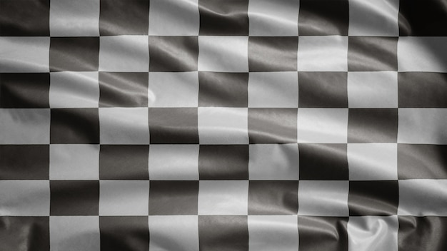 Racing flag waving in the wind. car race or auto sport, motorcycle speed competition