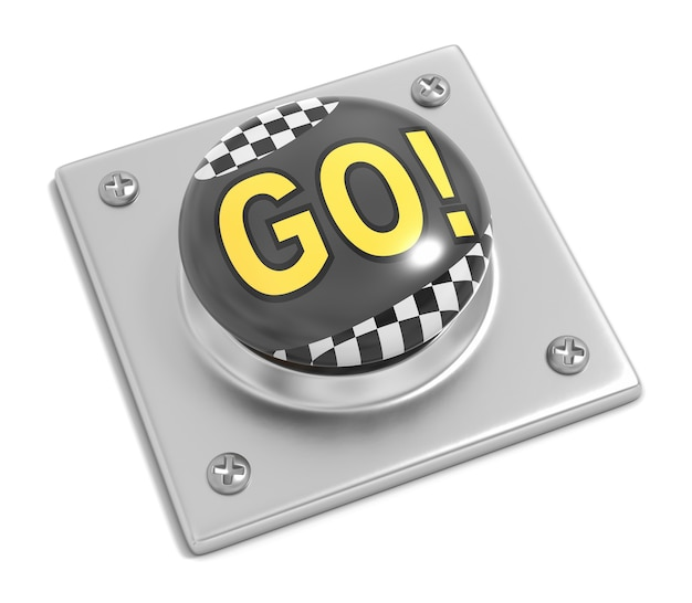 Racing go button on white