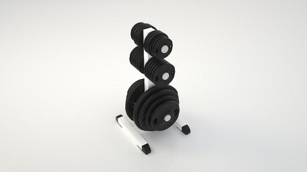 さまざまな黒いバーベルの重さでいっぱいのラック。 3dレンダリング。 Premium写真