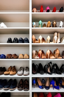 Rack full of shoes in a modern house