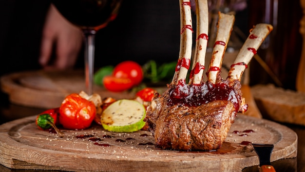 Rack of lamb with grilled vegetables.