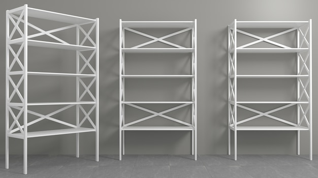 Rack with shelves showcase or wardrobe
