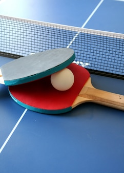 Rackets and ping pong table