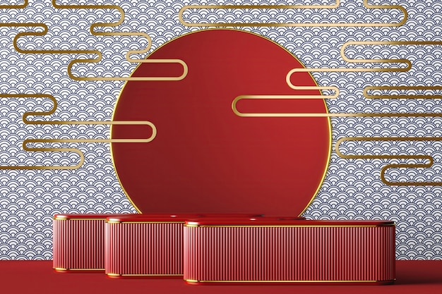 배경 일본 스타일 골드 프레임 및 빨간색 배경 물고기 비늘 패턴에 rad 플랫폼