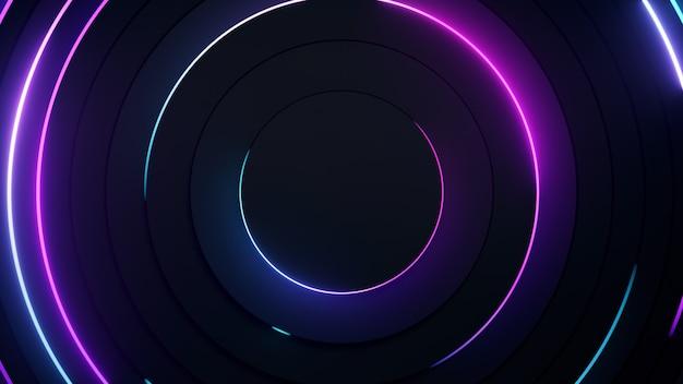 放射状の抽象的なネオンの背景。レーザーネオン線は、円形の暗い形状に沿って円を描いて移動します。