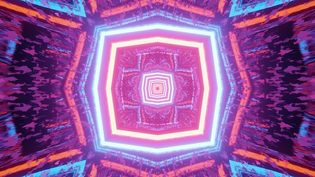 Radiant 3d illustration abstract colorful geometrical with symmetric pattern of neon lines and distorted reflections