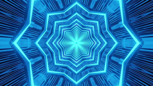 Radiant abstract art visual background of endless star shaped futuristic tunnel with bright blue neon illumination