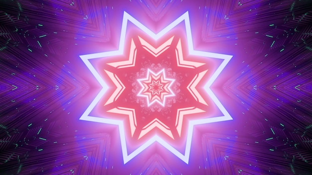 Radiant abstract visual background with repetitive geometric stars with neon light reflections in pink and purple colors