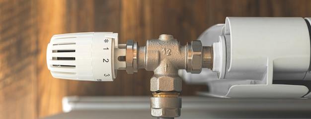 Контроллер радиатора отопления баннер крупным планом в современном деревянном интерьере