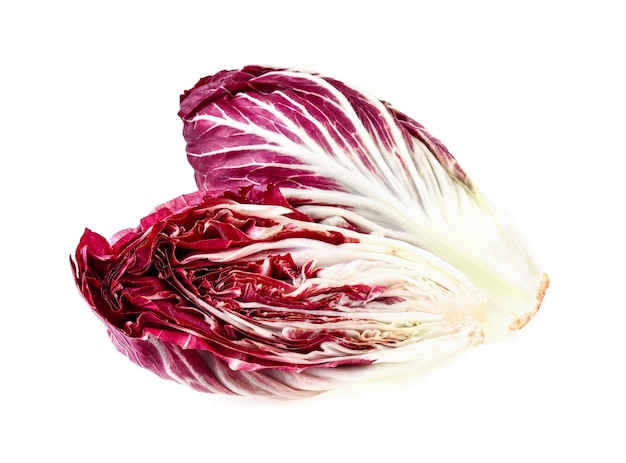 Radicchio, 흰색 배경에 고립 된 빨간 샐러드