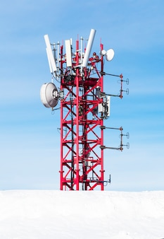 Radio antenna for mobile network at blue sky